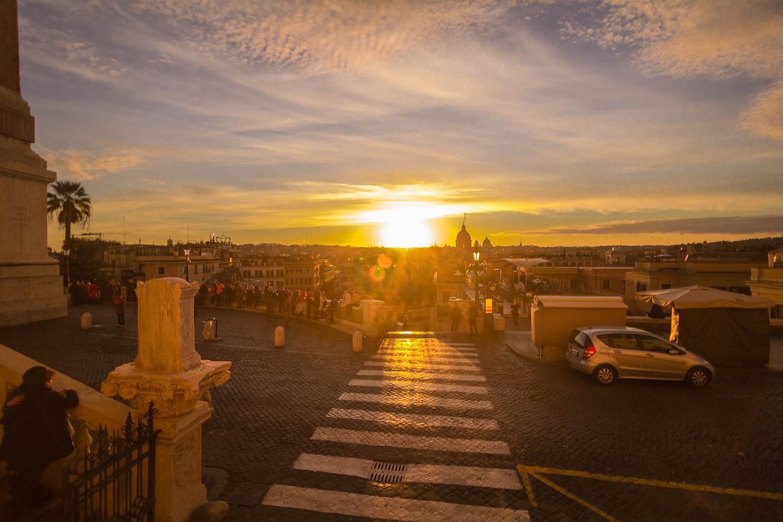 Sonnenuntergang Spanische Treppe Rom