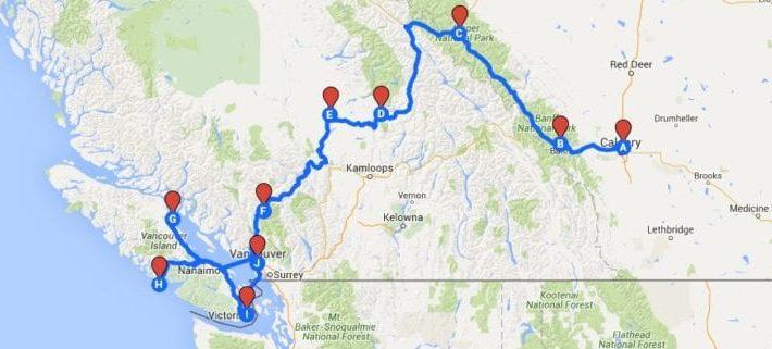 Kanada Roadtrip Route